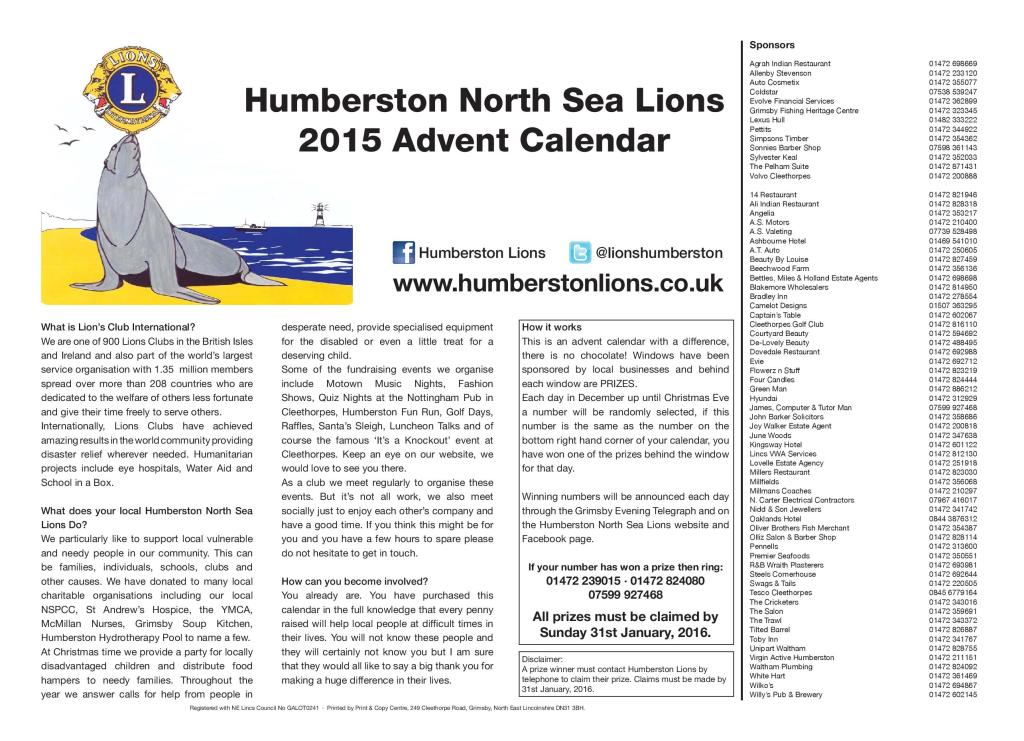 Humberston Lions Advent Calendar Back